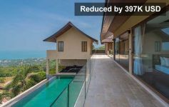 REDUCED BY 397K USD: Luxury 4-Bed Sea View Villa, Chaweng Noi