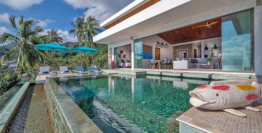 High-End Contemporary 6-Bed Panoramic Sea View Villa, Chaweng Noi