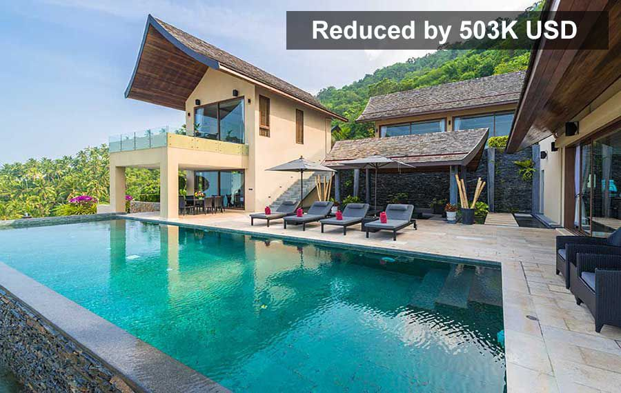 REDUCED BY 503K USD: High-End 4-Bed Ocean View Villa, Chaweng Noi