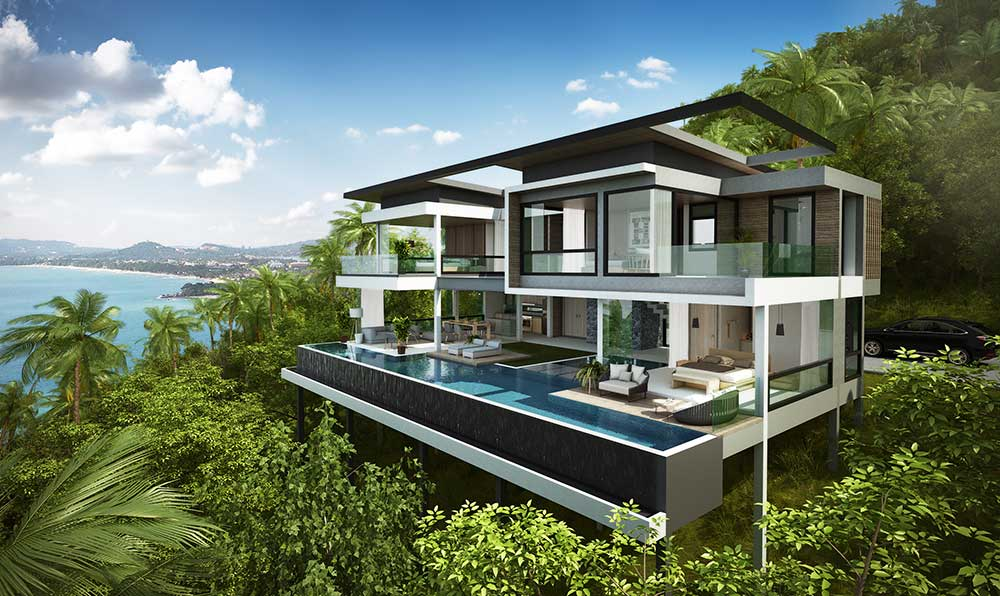 Contemporary Panoramic Sea View Villas - Fine Sea Views of Chaweng Bay
