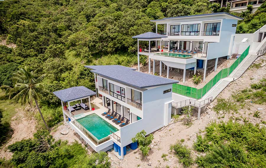 Two Identical Luxury 4-Bed Sea View Pool Villas, Maenam
