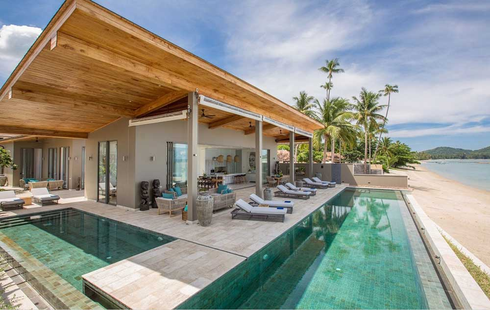 Koh samui property for sale 6 bed beachfront villa laem for 6 bedroom house with swimming pool for sale